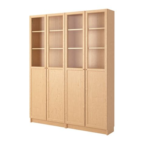 billy oxberg bookcase birch veneer ikea