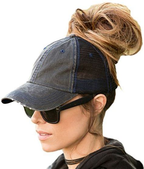 Womans Topper Worn In Ponytail | finally a hat you can wear high ponytails or messy buns