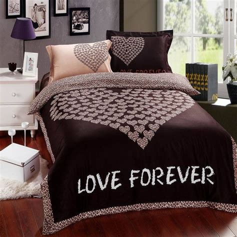 pattern queen flat sheet chocolate love forever heart pattern 4pcs bedding set