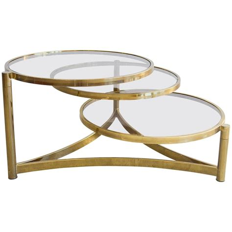 Swivel Glass Coffee Table Milo Baughman Tri Level Brass And Glass Swivel Coffee Table At 1stdibs