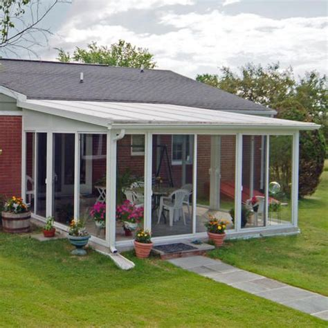 sun room kits easyroom 14 x 16 sloped roof single pane glass sunroom kit ranch remodel sun