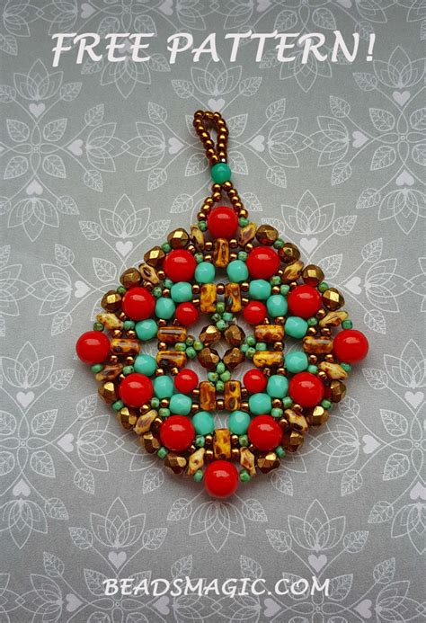 beaded brooch patterns free free pattern for beaded pendant boho magic