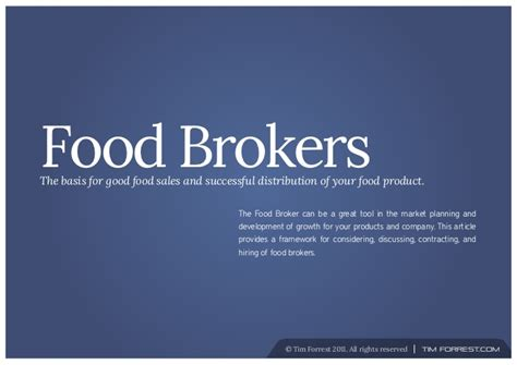 Food Broker Overview Food Broker Contract Template