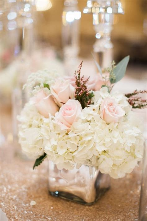 hydrangea centerpiece ideas pink and ivory hydrangea centerpiece pink roses