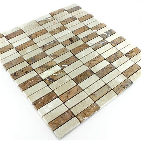 Matte Fliesen Polieren by Marmor Mosaik Poliert Braun Beige Stick Mosafil De