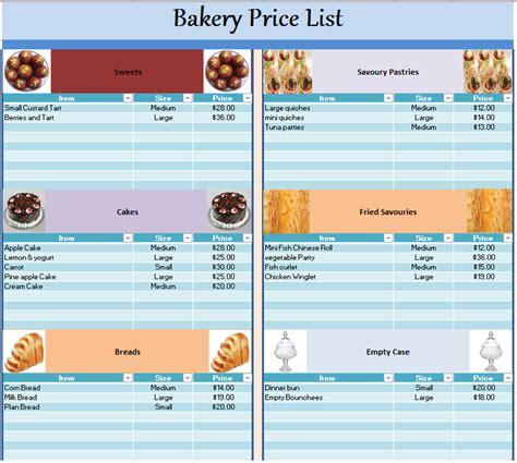 cupcake price list template bakery price list template 28 images bakery price list