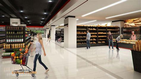 supermarket interior design architectural visualization supermarket