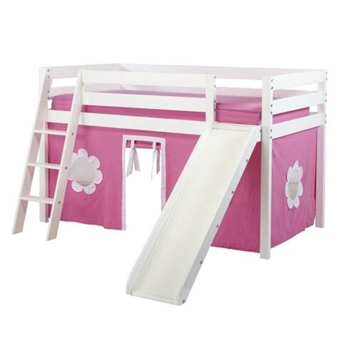girls loft bed with slide girls low loft bed in white with ladder slide and hot