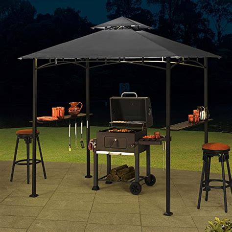 Sunjoy 8 X 5 Sylvan Soft Top Grill Gazebo Large Gray Topgrill Patio Furniture