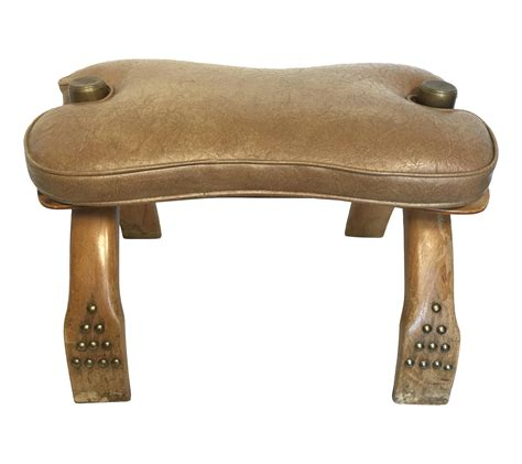 camel saddle ottoman egyptian wood brass camel saddle ottoman chairish
