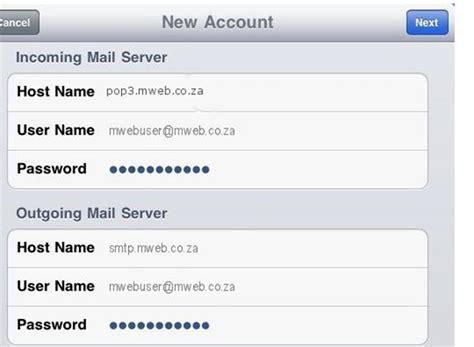 lienke mweb co za mail email client setup guide apple i pad gt mweb help gt view article
