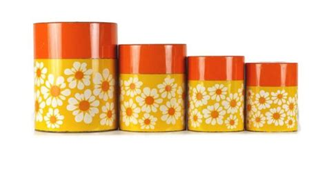 vintage 60s mod tin nesting canister set by counterpoint san vintage canister set metal kitchen canisters nesting