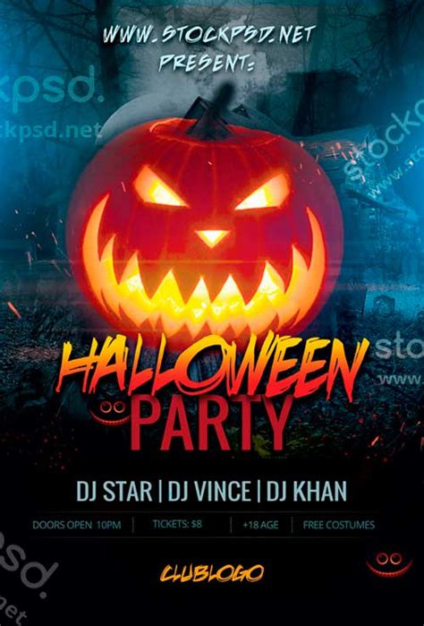 halloween party event free psd flyer template horror