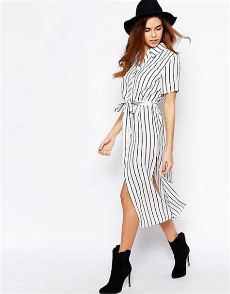 Striped Midi Shirt Dress glamorous glamorous stripe midi shirt dress