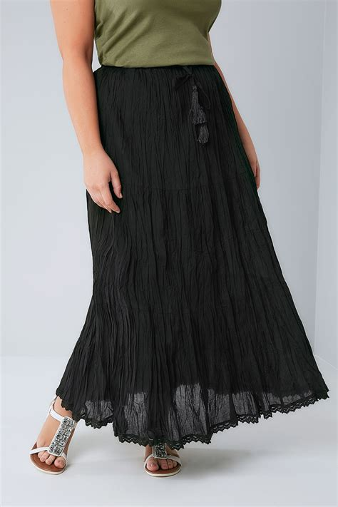 black tiered crinkle maxi skirt plus size 16 to 36