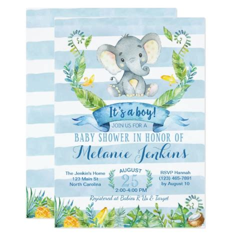 Elephant Baby Boy Shower Invitations by Boy Baby Shower Invitation Elephant Baby Shower Card