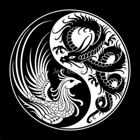 quot white and black dragon phoenix yin yang quot art prints by