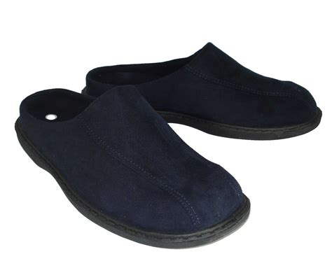 mules slippers mens zedzzz micro suede mules slippers in blue or brown