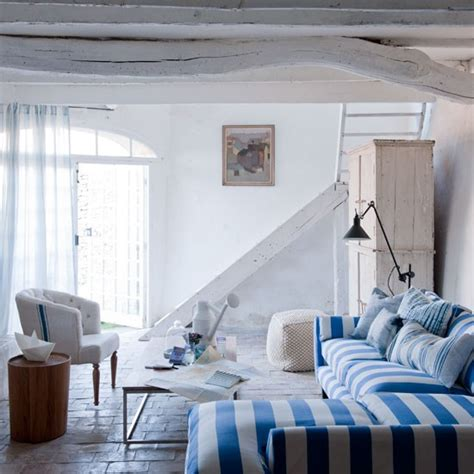striped rooms blue and white striped living room coastal colour