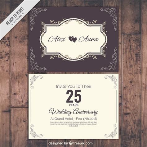 Wedding Anniversary Cards Vector Free by Classic Wedding Anniversary Card Vector Premium