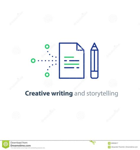 Essay Storytelling by Creative Writing Story Telling Idea Paper Page And Pencil Linear Icons Stock Vector