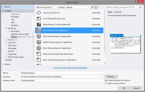 nodejs template node js development with visual studio