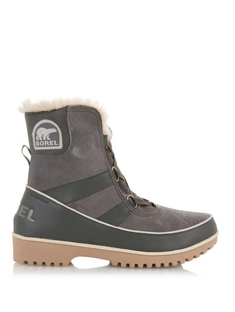 sorel tivoli ii suede ankle boots in gray lyst