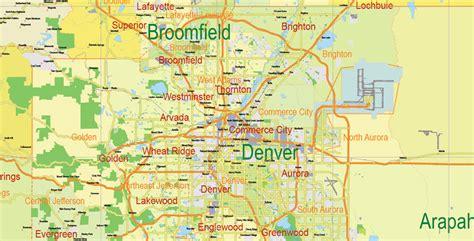 map of colorado vector printable map state colorado us main roads admin 10 ai pdf 11