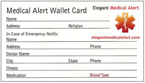 emergency id card template free id wallet card