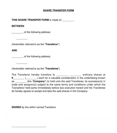 share transfer form sample template word