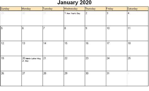 january  calendar  excel word printable templates