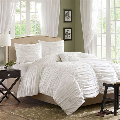 white bedding set ruched bedding