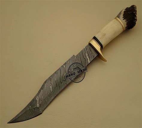 Professional Kitchen Knives Beautiful Damascus Hunting Bowie Knife Custom Handmade