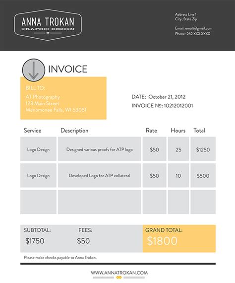 invoice template graphic design design invoice on adweek talent gallery