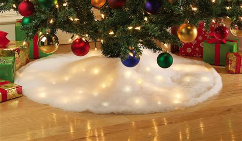 white led lighted snow christmas tree skirt holiday home