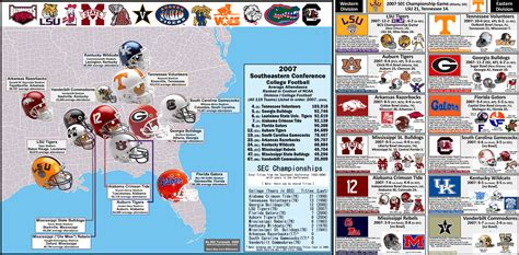 ncaa division i a football bowl subdivision the sec attendance map 2007 figures and team