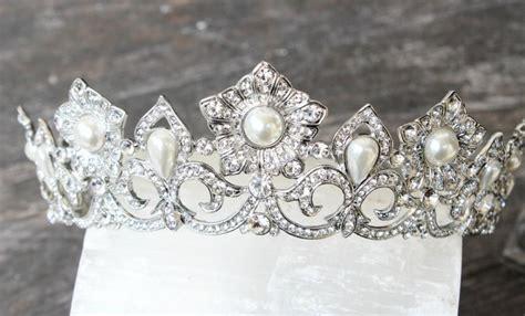 braut diadem swarovski full bridal crown princess bride swarovski crystal pearl