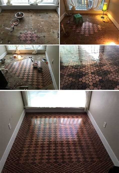is it worth renovating an old house renovating old floor with 13 000 pennies turning into stunning patterns