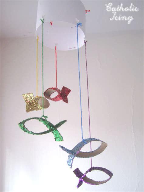 mobile craft glittery jesus fish craft make a mobile