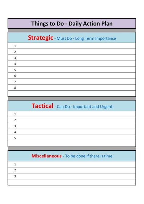 daily and weekly action plan template
