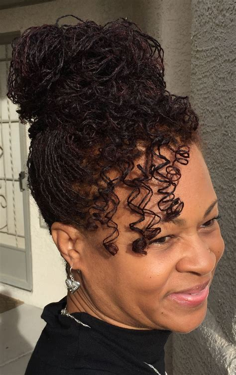 sisterlocks with thin wa y hair my sisterlocks updo pinteres