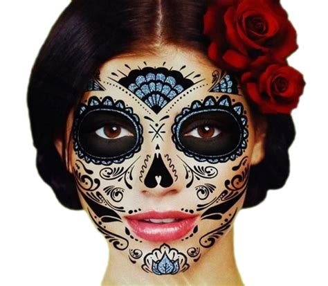 day of the dead face tattoo black glitter skeleton day of the dead temporary