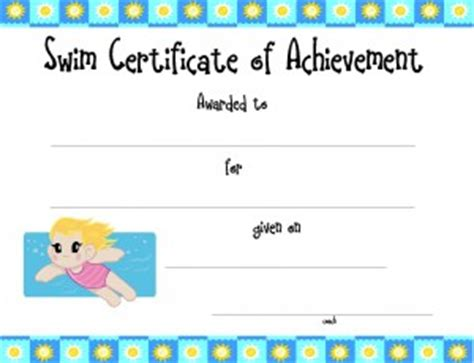 swimming award certificate template football certificates