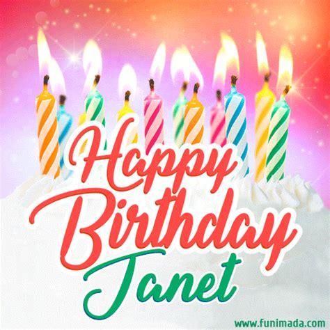 happy birthday gif  janet  birthday cake  lit candles   funimadacom