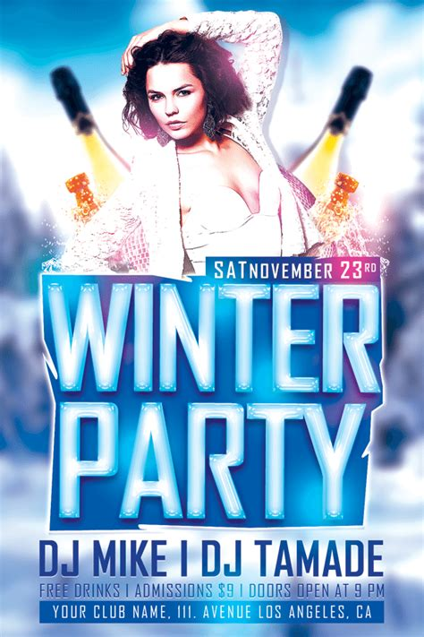 download winter bash free club psd flyer template for