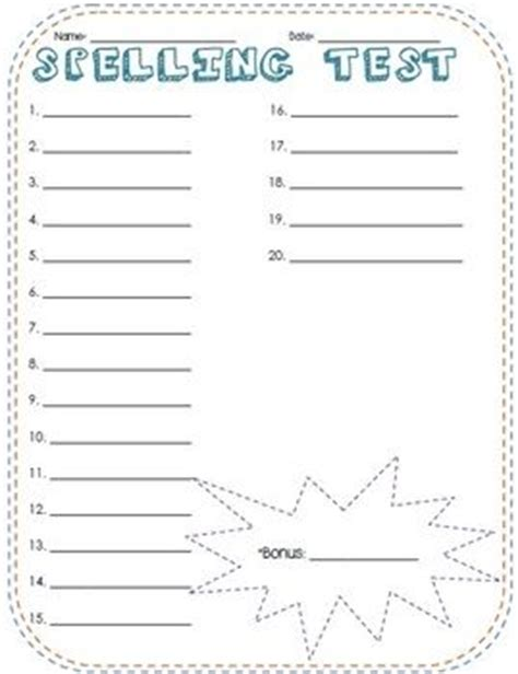 spelling test template free printable paper and spelling on
