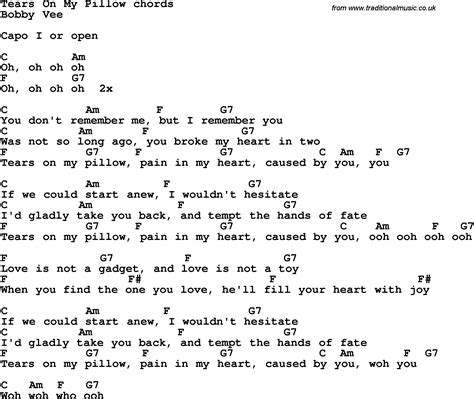 song lyrics with guitar chords for tears on pillow
