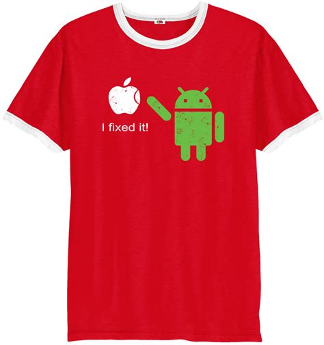 Tshirt Androit by Android Ringer T Shirt I Fixed Apple Logo Top Ebay