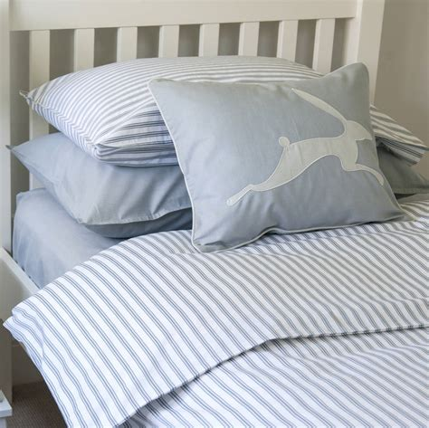 ticking bedding toddler cot bed duvet set ticking stripe blue grey