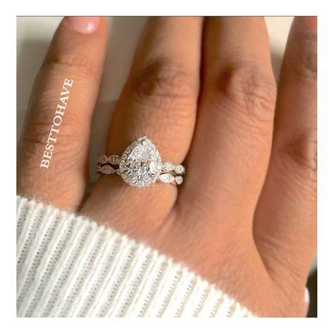 true 925 silver halo teardrop wedding engagement ring set